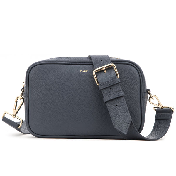 LEATHER BOX BAG STEEL BLUE