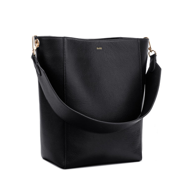 LEATHER BUCKET BAG BLACK W/GOLD (W/LEATHER STRAP)