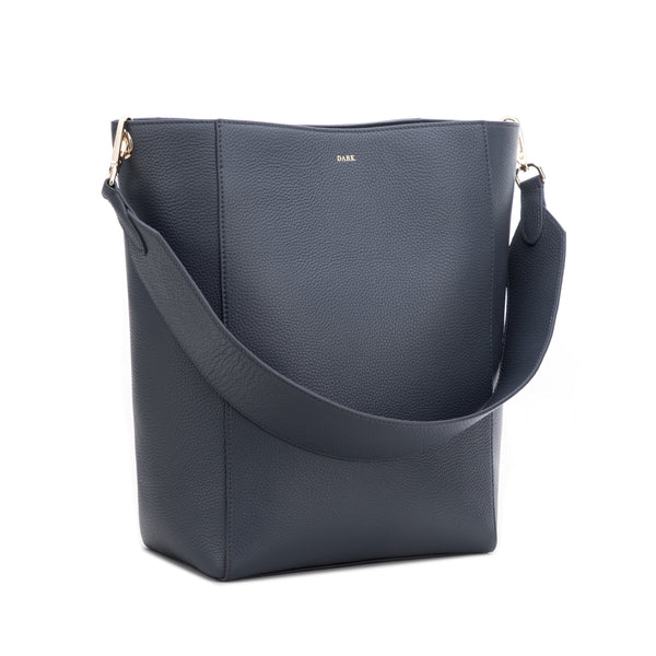 LEATHER BUCKET BAG STEEL BLUE