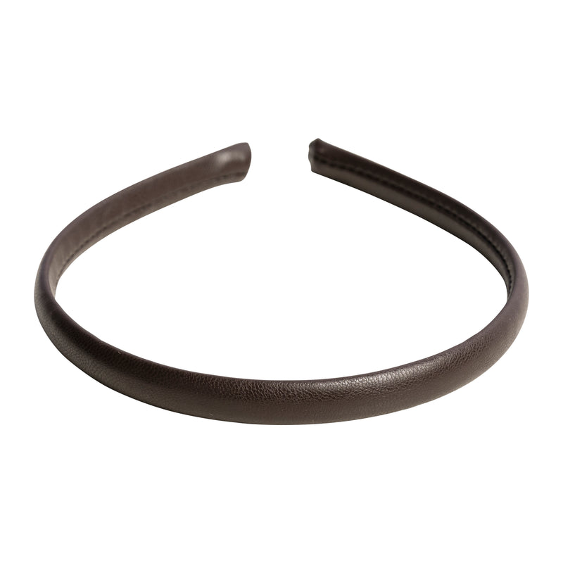 LEATHER HAIR BAND THIN CHOCOLATE BROWN