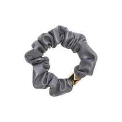 LEATHER MINI SCRUNCHIE DARK GREY