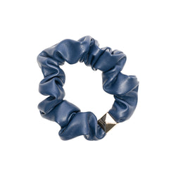 LEATHER MINI SCRUNCHIE NAVY BLUE