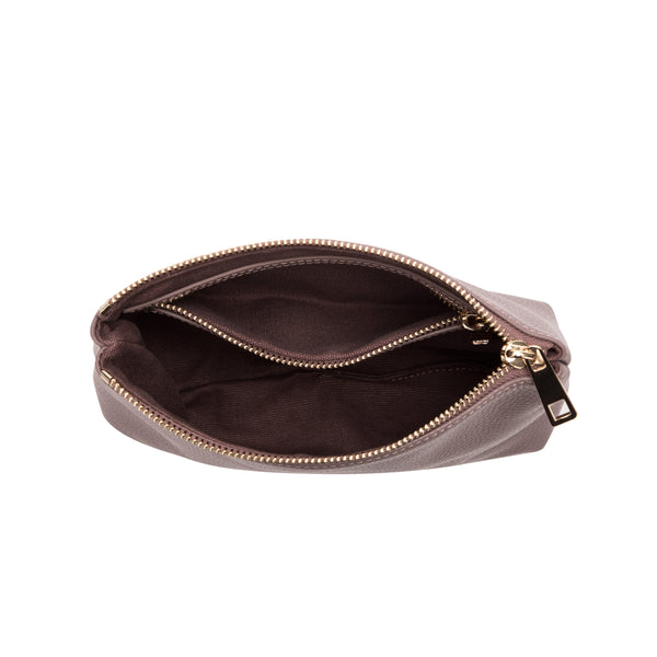 LEATHER STANDING POUCH DUSTY GRAPE