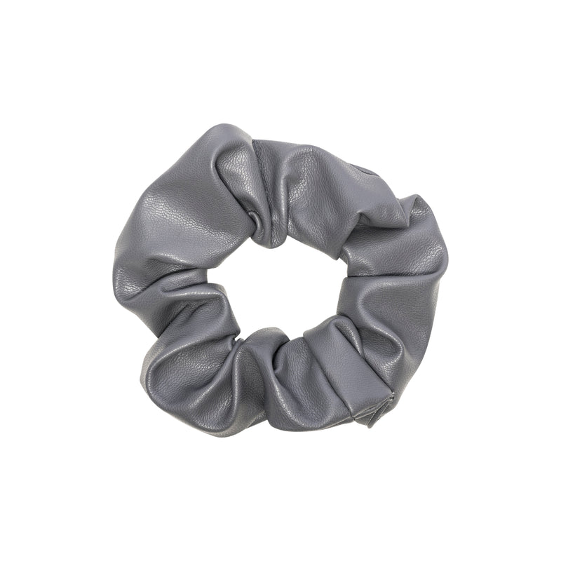 LEATHER SCRUNCHIE DARK GREY