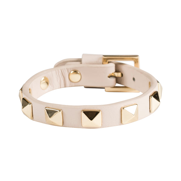 LEATHER STUD BRACELET SAND