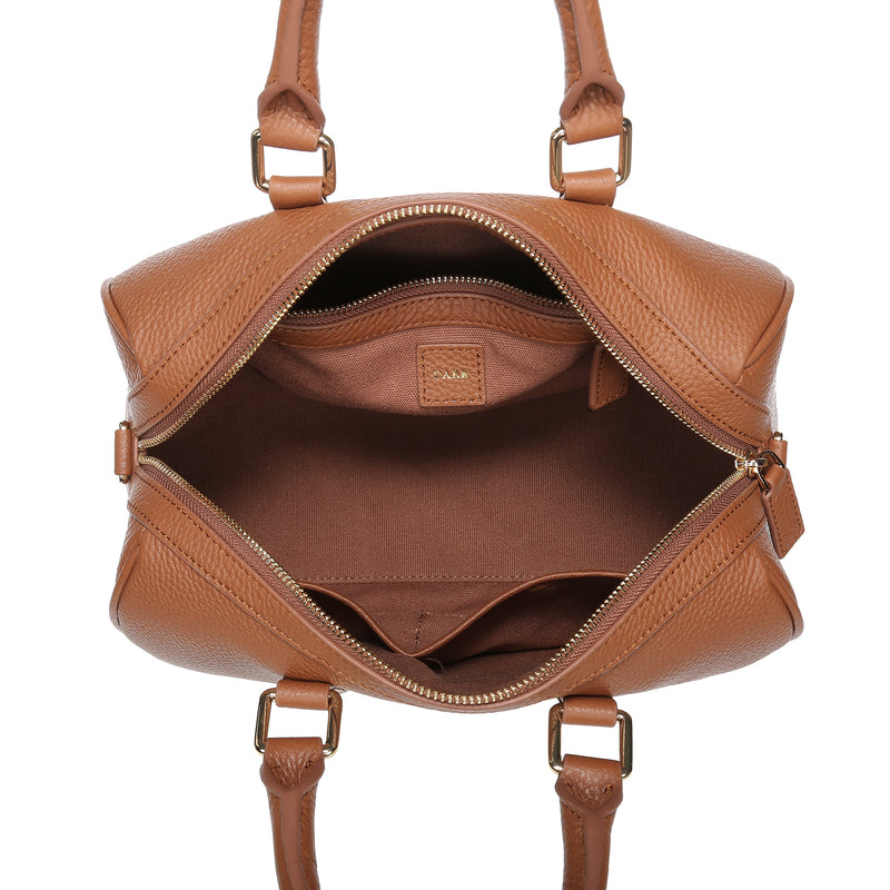 LEATHER BOWLER SMALL COGNAC