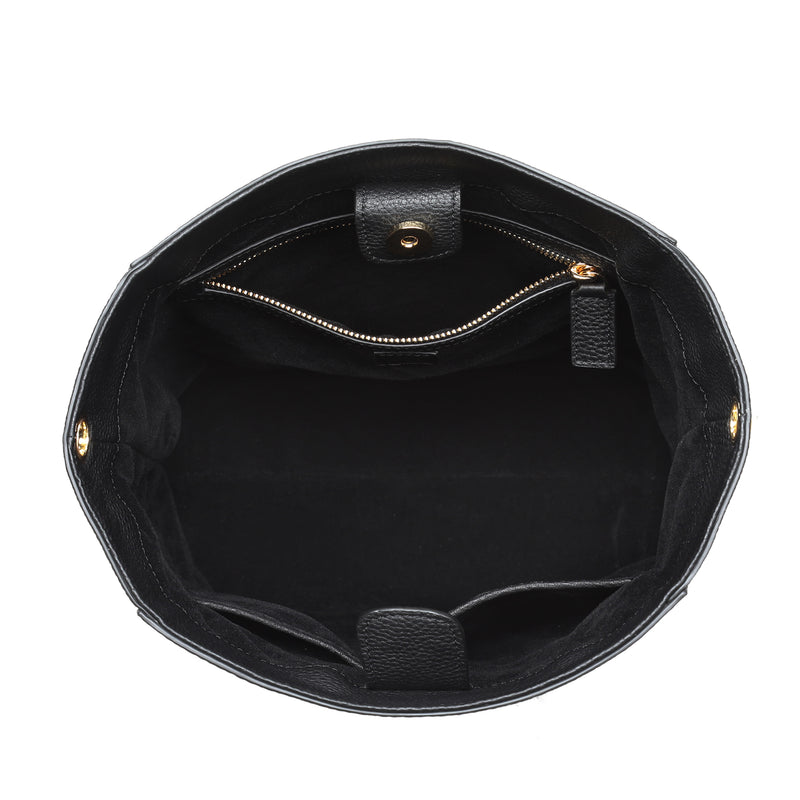 LEATHER BUCKET BAG BLACK W/GOLD