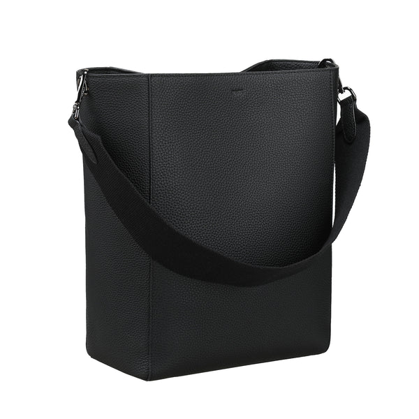 LEATHER BUCKET BAG BLACK W/GUN
