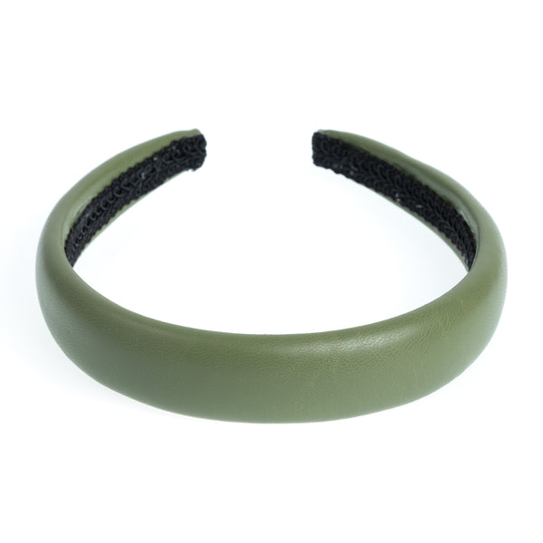 LEATHER HAIR BAND BROAD FADED ARMY