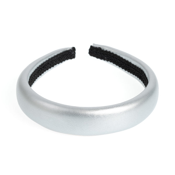 LEATHER HAIR BAND BROAD SILVER