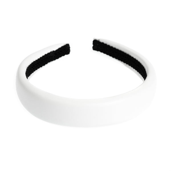 LEATHER HAIR BAND BROAD WHITE