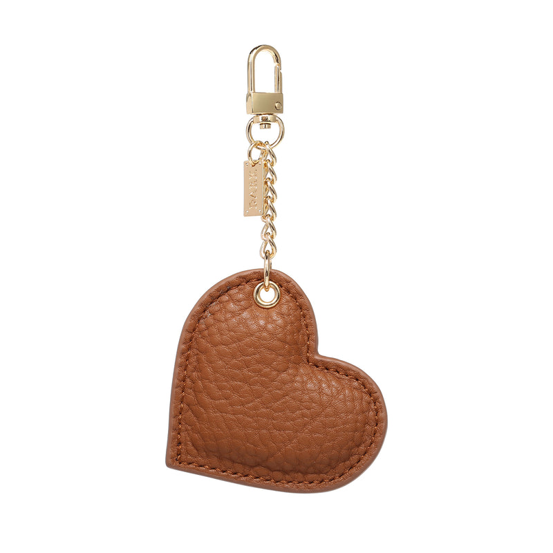LEATHER HEART CHARM COGNAC