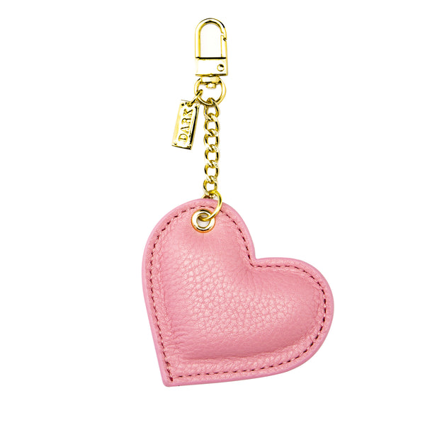 LEATHER HEART CHARM PALE PINK