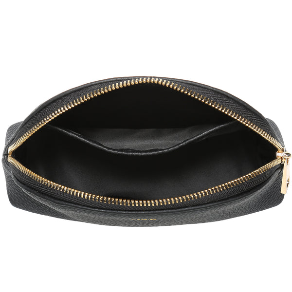 LEATHER MAKE-UP POUCH BLACK W/GOLD
