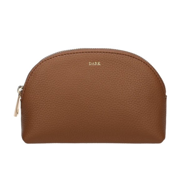LEATHER MAKE-UP POUCH COGNAC