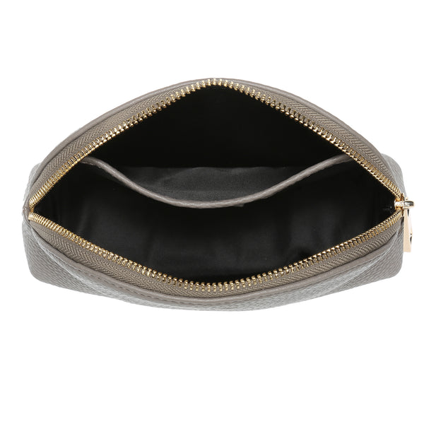 LEATHER MAKE-UP POUCH GREY