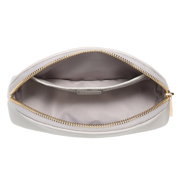 LEATHER MAKE-UP POUCH LIGHT GREY