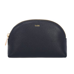 LEATHER MAKE-UP POUCH NAVY BLUE