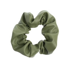 LEATHER SCRUNCHIE FADED ARMY