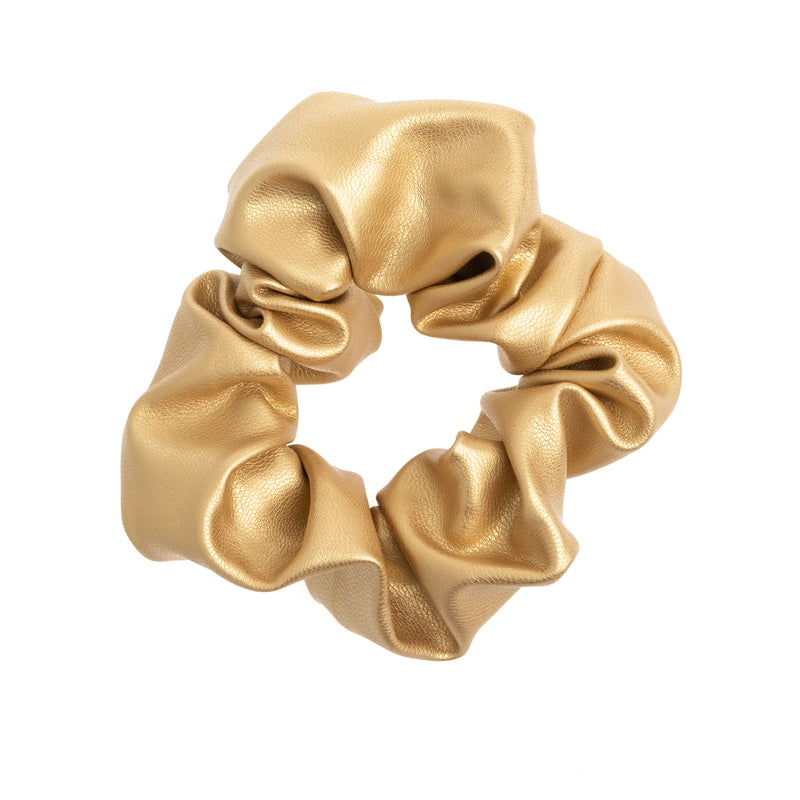 LEATHER SCRUNCHIE GOLD