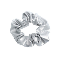 LEATHER SCRUNCHIE SILVER