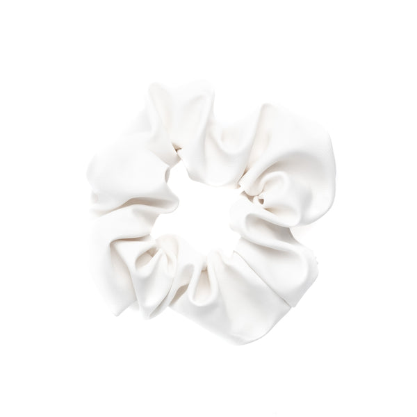LEATHER SCRUNCHIE WHITE