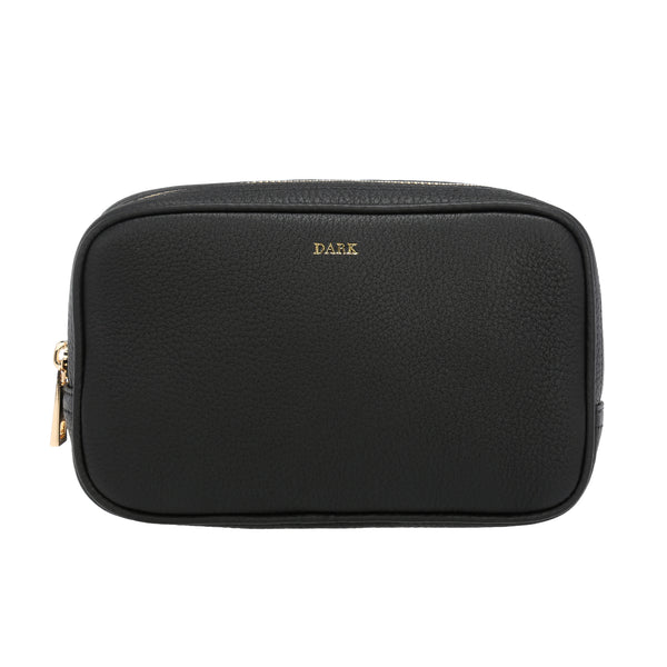 LEATHER SQUARE MAKE-UP BAG BLACK W/GOLD