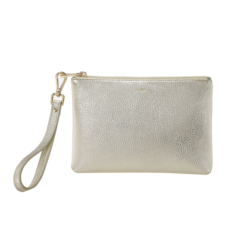 LEATHER STANDING POUCH GOLD