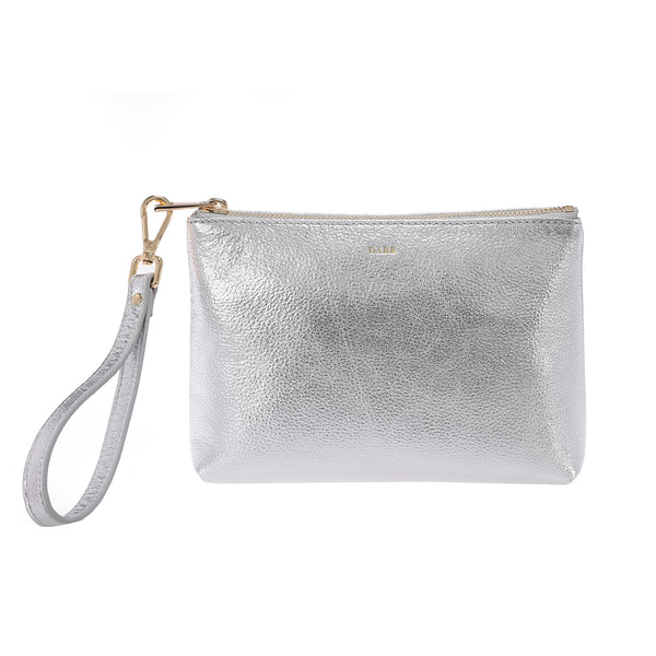 LEATHER STANDING POUCH SILVER
