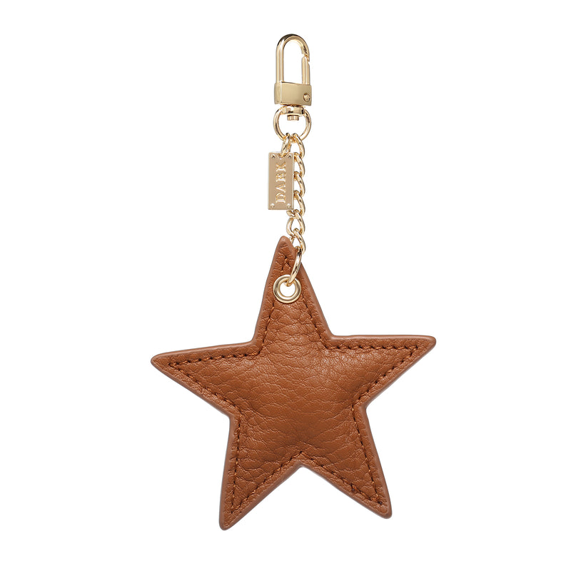 LEATHER STAR CHARM COGNAC