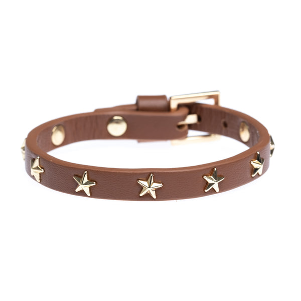 LEATHER STAR STUD BRACELET MINI COGNAC