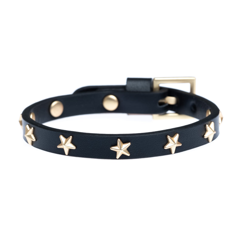 LEATHER STAR STUD BRACELET MINI BLACK W/MATTE GOLD