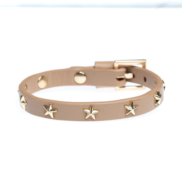 LEATHER STAR STUD BRACELET MINI CAMEL