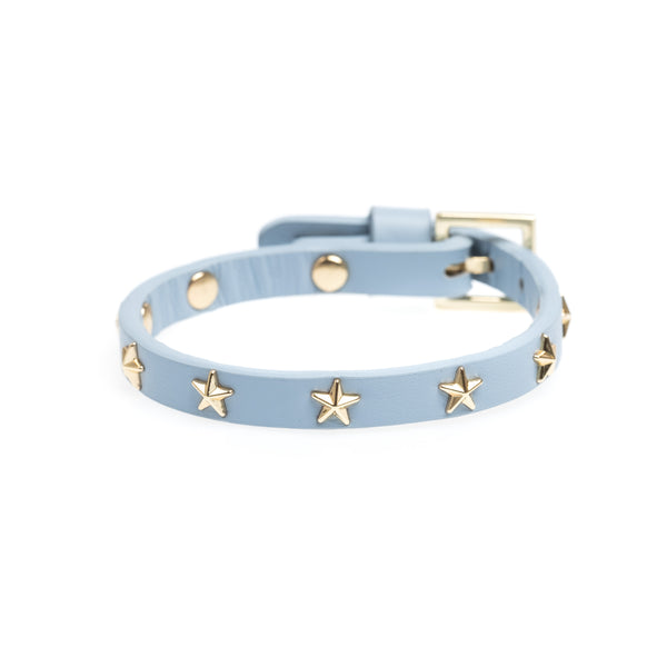 LEATHER STAR STUD BRACELET MINI COOL BLUE