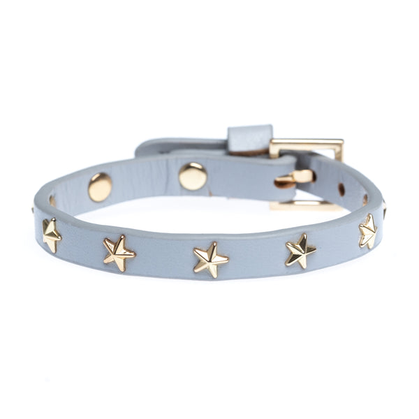 LEATHER STAR STUD BRACELET MINI LIGHT GREY