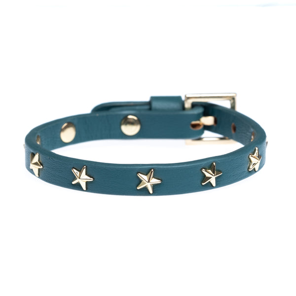 LEATHER STAR STUD BRACELET MINI TEAL