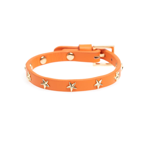 LEATHER STAR STUD BRACELET MINI ORANGE