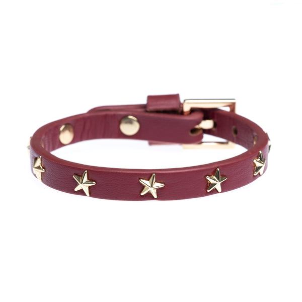 LEATHER STAR STUD BRACELET MINI OX RED