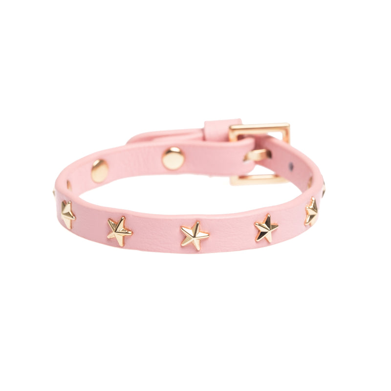 LEATHER STAR STUD BRACELET MINI PALE PINK