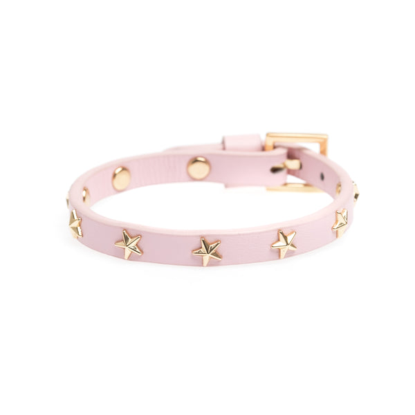 LEATHER STAR STUD BRACELET MINI PALE ROSE