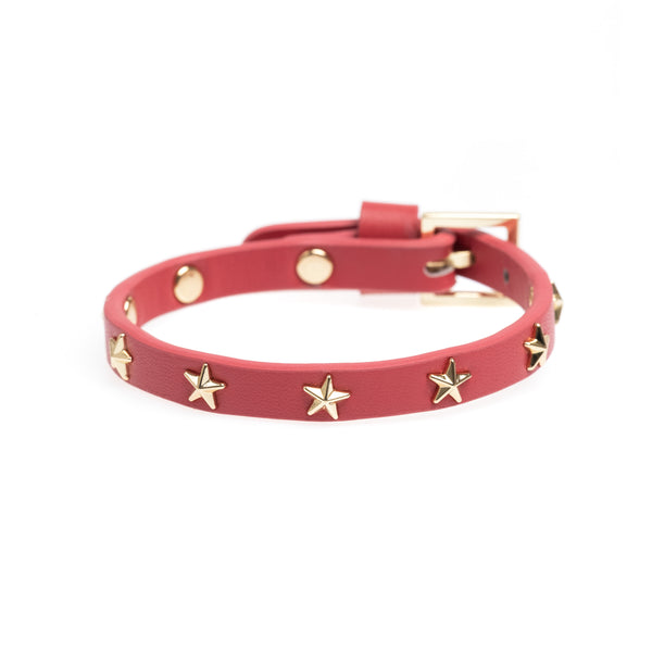 LEATHER STAR STUD BRACELET MINI TERRACOTTA