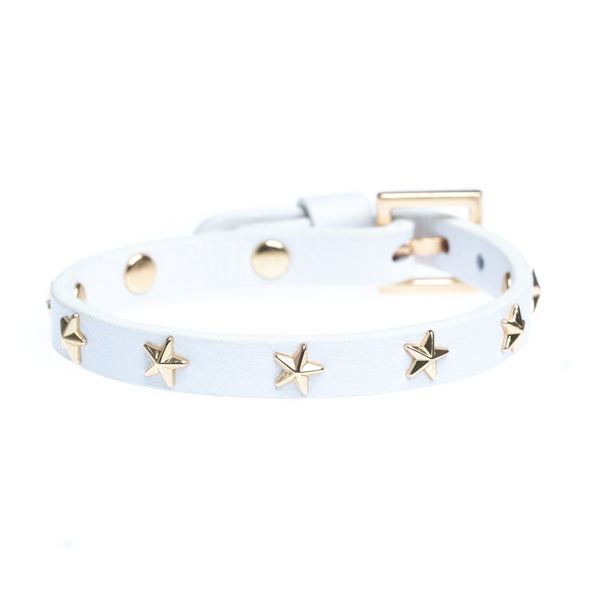LEATHER STAR STUD BRACELET MINI WHITE
