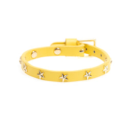 LEATHER STAR STUD BRACELET MINI YELLOW