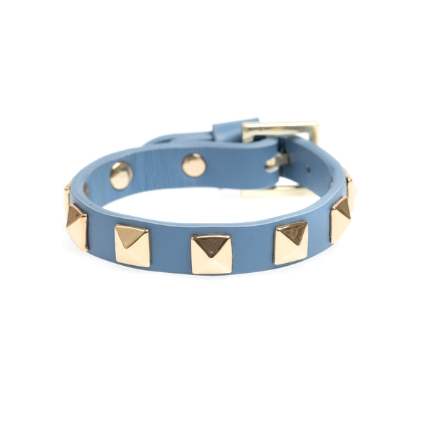 LEATHER STUD BRACELET 501 BLUE