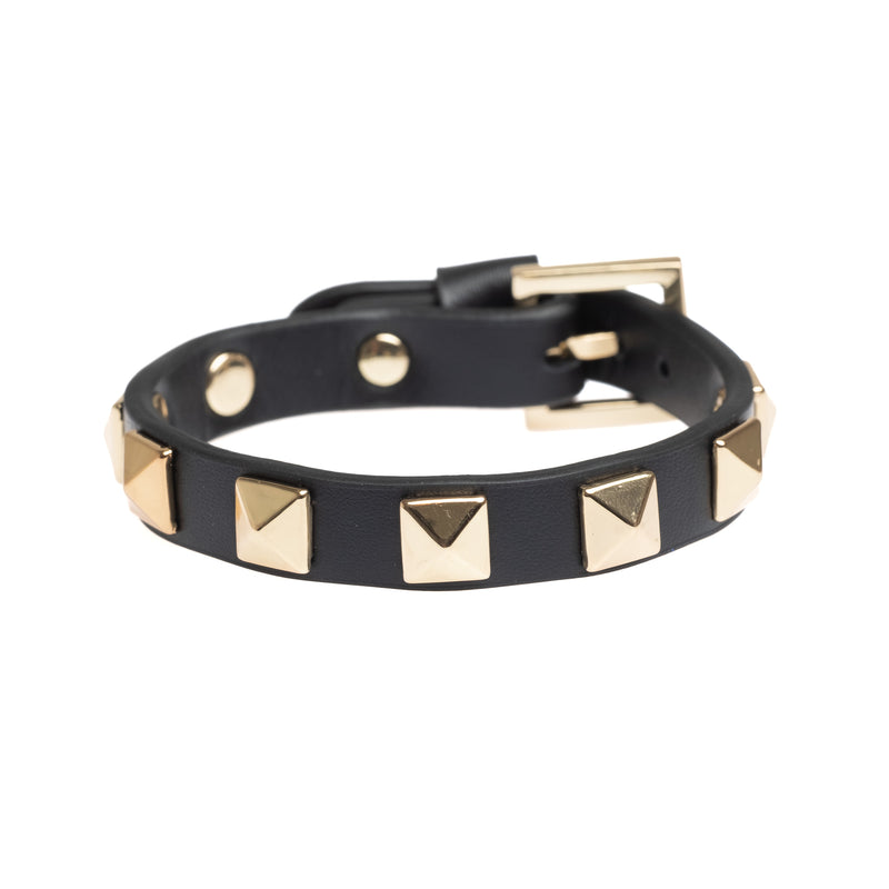 LEATHER STUD BRACELET BLACK W/GOLD