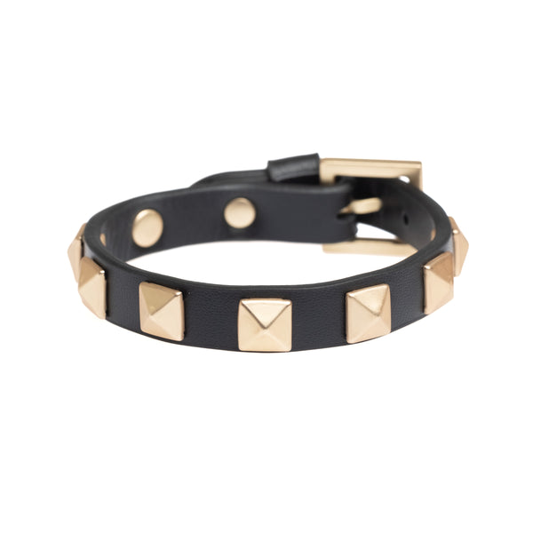 LEATHER STUD BRACELET BLACK W/ MATTE GOLD