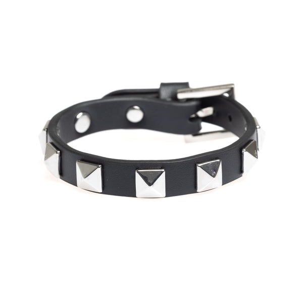 LEATHER STUD BRACELET BLACK W/ SILVER