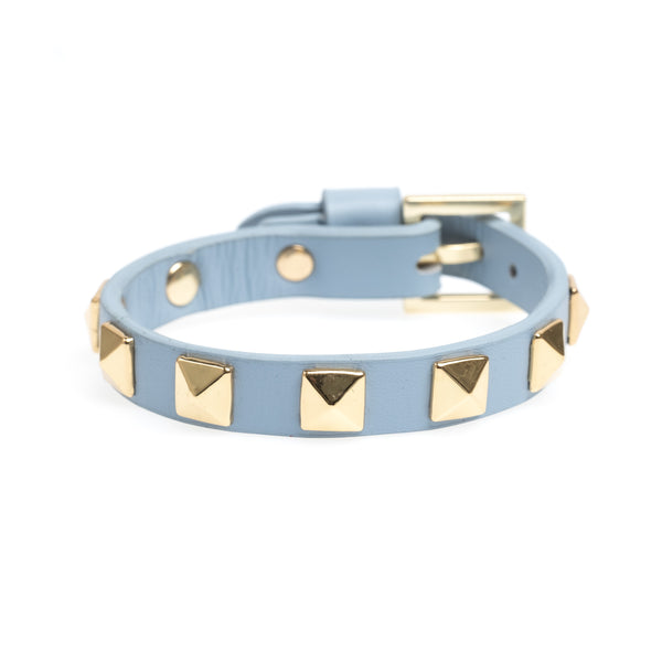LEATHER STUD BRACELET COOL BLUE