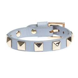LEATHER STUD BRACELET LIGHT GREY