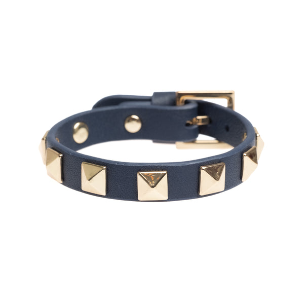 LEATHER STUD BRACELET NAVY BLUE